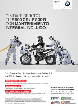 OLVÍDATE DE TODO. TU F 800 GSo F 800 R CON