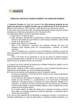 """BASES DEL SORTEO DE """"BASKET PROMETE"""" DE FUNDACIÓN"""
