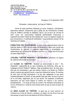 1 Zaragoza, le 12 septembre 2011 Estimados colaboradores de