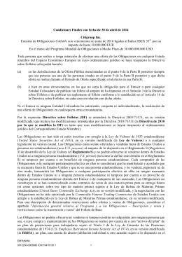 Condiciones Finales con fecha de 30 de abril de 2014