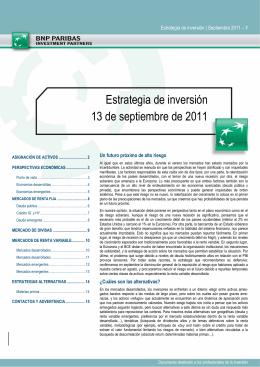Estrategia de inversión 13 de septiembre de 2011