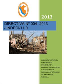 DIRECTIVA Nº 004- 2013 / INDECI/11.0