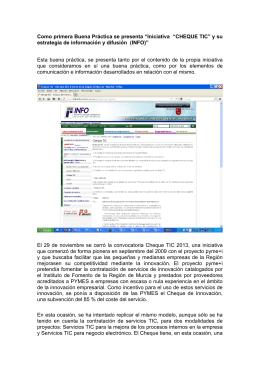 """CHEQUE TIC"""" y su estrategia de información y difusión (INFO)"""""""