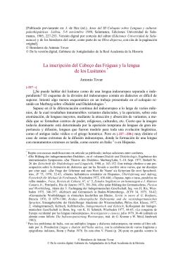 La inscripción del Cabeço das Fráguas y la lengua de los Lusitanos