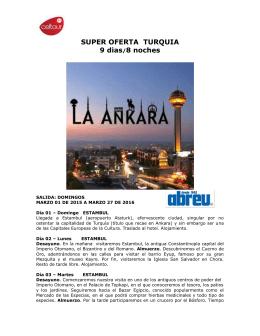 SUPER OFERTA TURQUIA 9 dias/8 noches