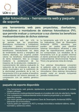 solar fotovoltaica - herramienta web y paquete de soporte