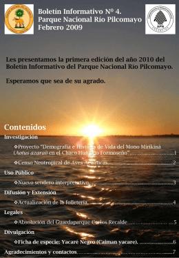 Boletín Informativo N0 4. Parque Nacional Río Pilcomayo Febrero