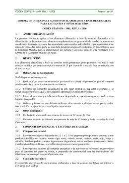 norma de codex para alimentos elaborados a base de cereales