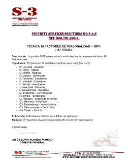 TÉCNICA 16 FACTORES DE PERSONALIDAD – 16PF. (187 ÍTEMS).