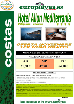 BND 807 HOTEL ALLON MEDITE - 31nov