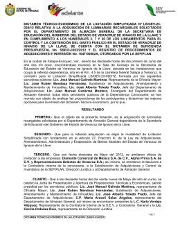 dictamen técnico-económico de la licitación simplificada n° ls/gev-23