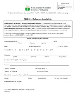 2013-2014 Aplicación de Admisión - Community Charter School of