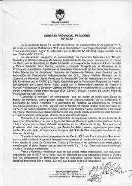 CONSEJO PROVINCIAL PESQUERO 82° ACTA En la ciudad de