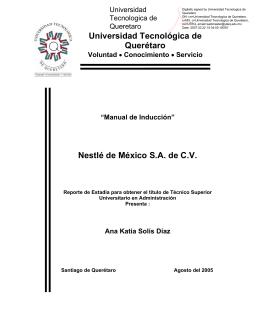 Manual de Inducción - Universidad Tecnológica de Querétaro