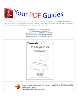 Operating instructions THERMADOR PH48ZS