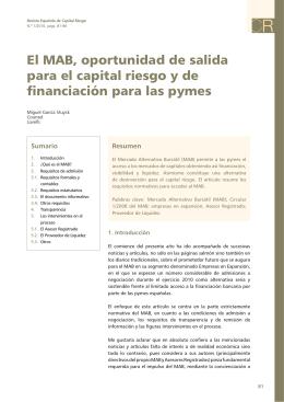 El MAB, oportunidad de salida para el capital riesgo y de