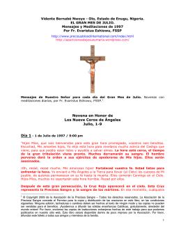 Novena en Honor de Los Nueve Coros de Ángeles Julio, 1-9