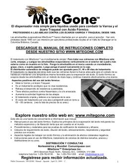Imprima el manual de Mitegone