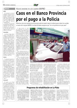 Caos en el Banco Provincia por el pago a la Policía