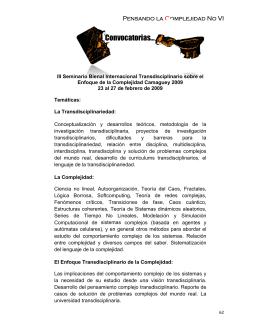 Convocatoria - VI Congreso Bienal Internacional de Complejidad