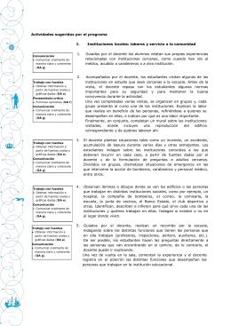 Actividades sugeridas por el programa I. Instituciones locales