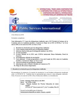 Nota Informativa Nº 2 para las delegaciones sindicales ante el CSW54