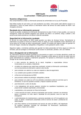 Privacy Leaflet for Patients (Spanish)