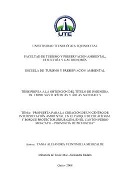 universidad tecnológica equinoccial facultad de turismo y