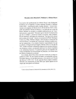 Recados entre Ricardo E. Molinari y Alfonso Reyes