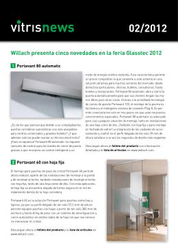 Willach presenta cinco novedades en la feria Glasstec 2012