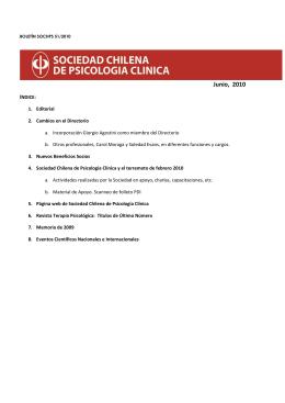 Junio, 2010 - Sociedad Chilena de Psicología Clínica