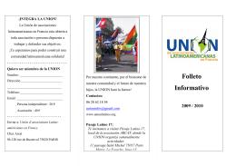 Folleto Informativo - Unión de Asociaciones Latinoamericanas en