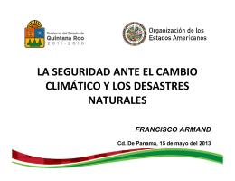 la seguridad ante el cambio climático y los desastres naturales