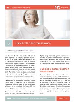 Cáncer de riñón metastásico - EAU Patient Information