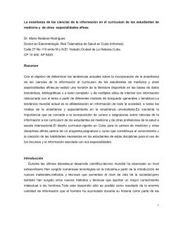 La enseñanza de las ciencias de la información en el curriculum de