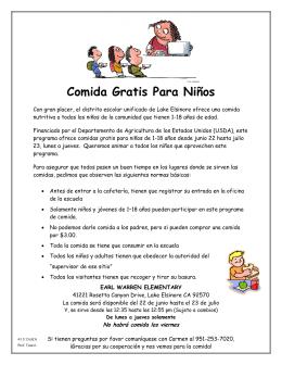 Comida Gratis Para Niños - Wildomar Elementary School