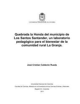 Quebrada la Honda del municipio de Los Santos Santander, un