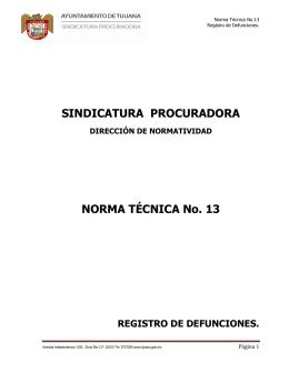 SINDICATURA PROCURADORA NORMA TÉCNICA No. 13