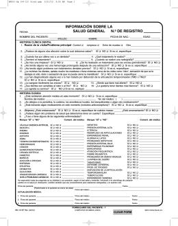 información sobre la salud general n.º de registro