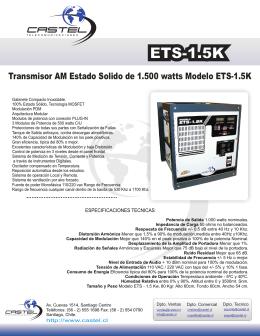 Transmisor AM Estado Solido de 1.500 watts Modelo ETS-1.5K