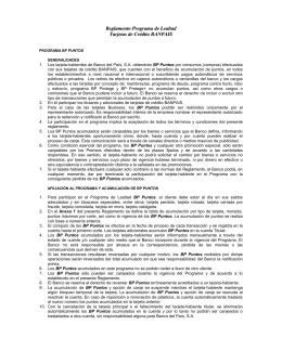 Reglamento Programa de Lealtad Tarjetas de