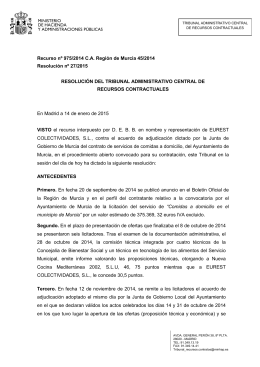 Recurso nº 975/2014 C.A. Región de Murcia 45/2014 Resolución nº