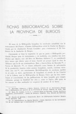 FICHAS BIBLIOGRAFICAS SOBRE LA PROVI\CIA DE BURGOS
