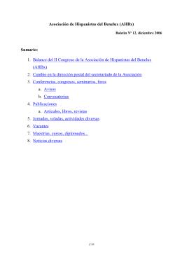AHBx Boletín No. 12 – diciembre 2006