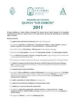 AÑO 2011 - Quinta Los Ombúes