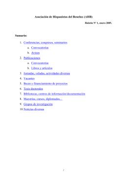 enero 2005 - AHBx. Asociación de Hispanistas del Benelux