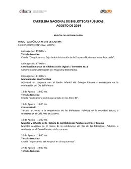cartelera nacional de bibliotecas públicas agosto de 2014