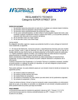 REGLAMENTO TECNICO Categoría SUPER STREET 2014