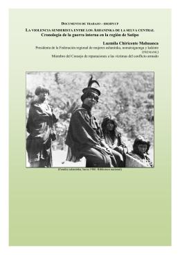 Cronología sobre el pueblo asháninka y resumen de la
