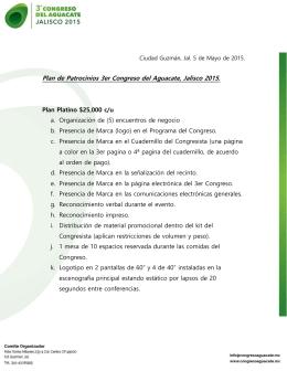 Plan de Patrocinios 3er Congreso del Aguacate, Jalisco 2015.
